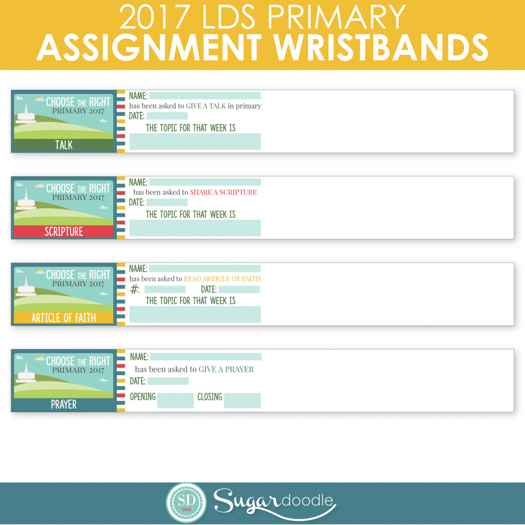 2017 LDS Primary Assignment Wristbands