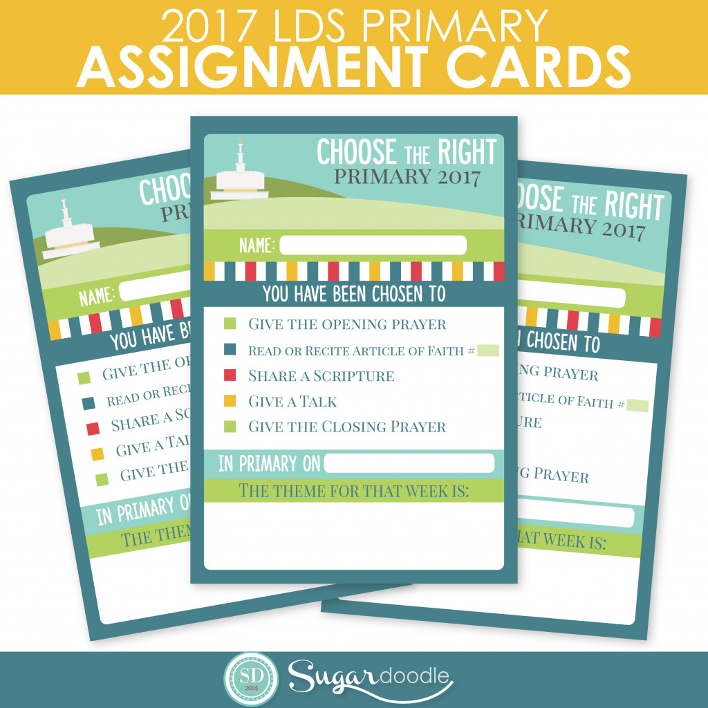 2017 LDS Primary Assignment Cards