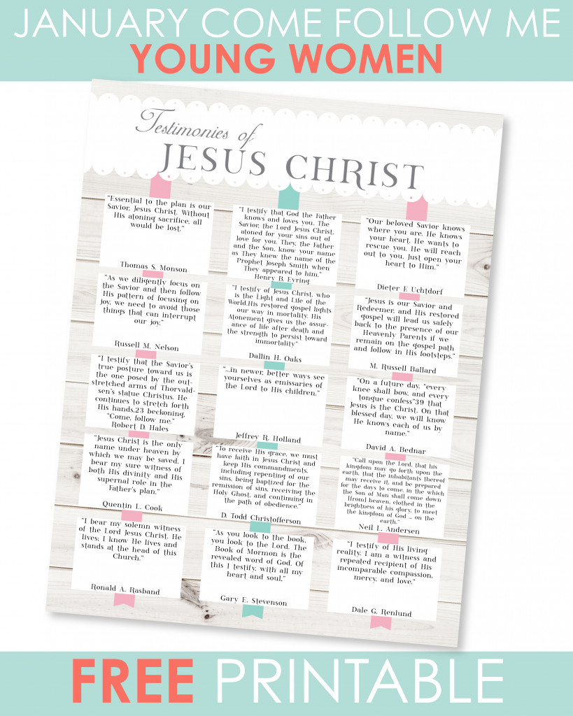 January Come Follow Me - FREE printable